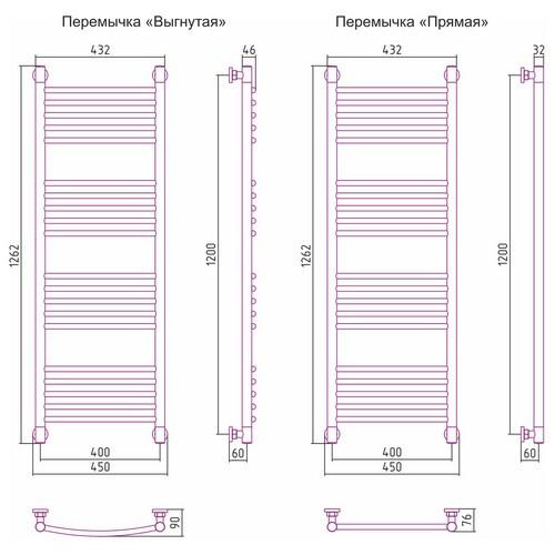Водяной полотенцесушитель Сунержа Богема+ прямая 1200x400