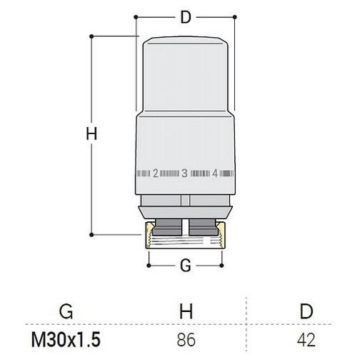 """Термоголовка S.R. Rubineterrie """"Aria"""" M30x1.5, цвет - хром"""