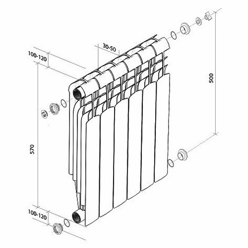 Биметаллический радиатор отопления Royal Thermo Indigo Super + 500 12 секций