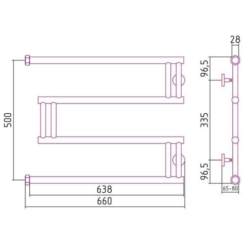 """Водяной полотенцесушитель Сунержа High-Tech model """"M"""" 500x650"""