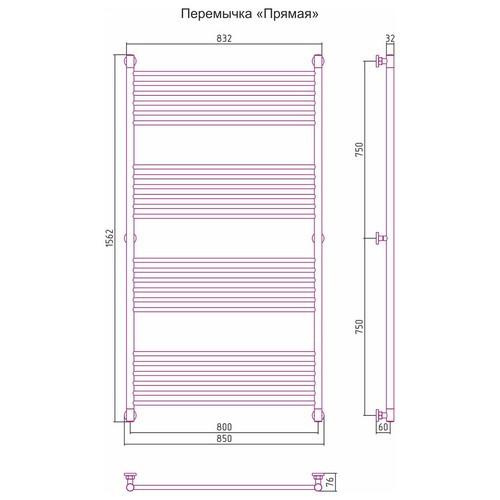 Водяной полотенцесушитель Сунержа Богема+ прямая 1500x800