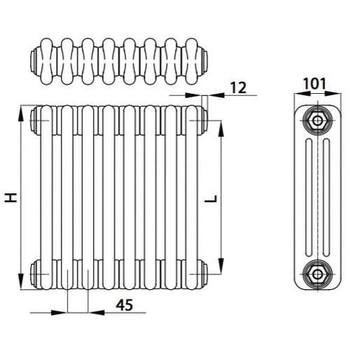 Стальной трубчатый радиатор отопления BEMM 3056.U1 14 секций