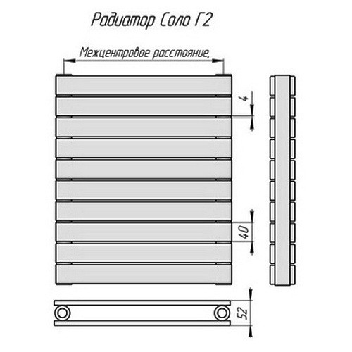 Стальной трубчатый радиатор отопления КЗТО Соло Г 2-750-28
