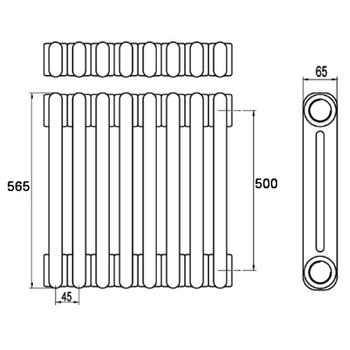 Стальной трубчатый радиатор отопления BEMM 2056.U1 16 секций