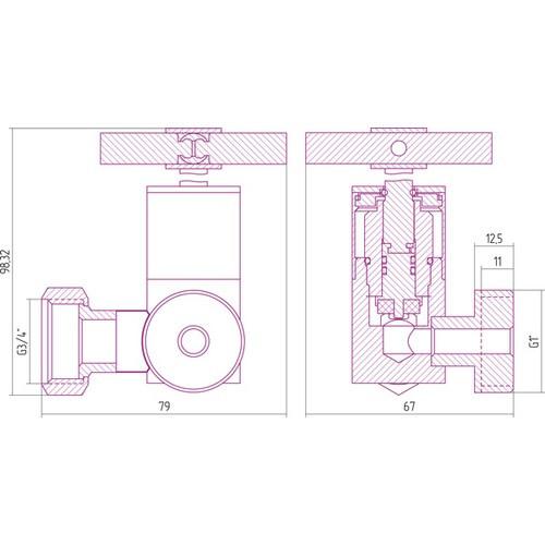Вентиль 3D левый крест
