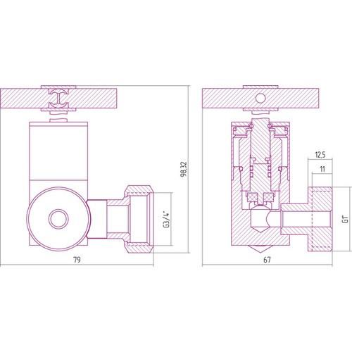 Вентиль 3D правый крест