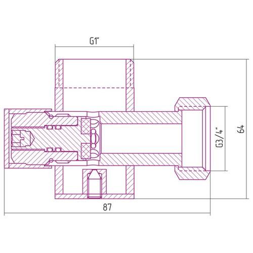 Вентиль с клапаном угловой под шестигранник