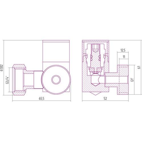 Вентиль 3D левый под шестигранник