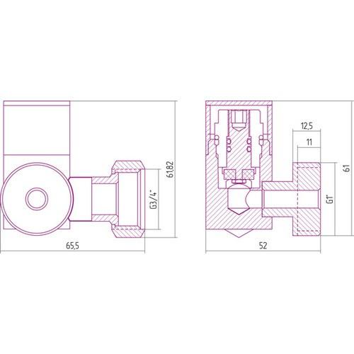 Вентиль 3D правый под шестигранник