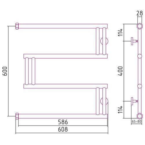 """Водяной полотенцесушитель Сунержа High-Tech model """"M"""" 600x600"""