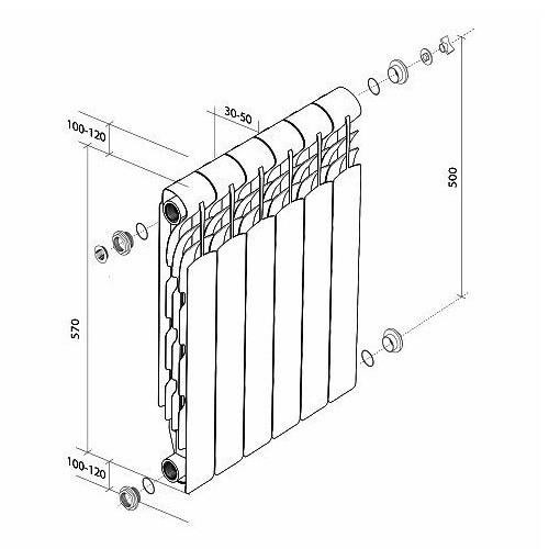 Алюминиевый радиатор отопления Royal Thermo Revolution 500 4 секции