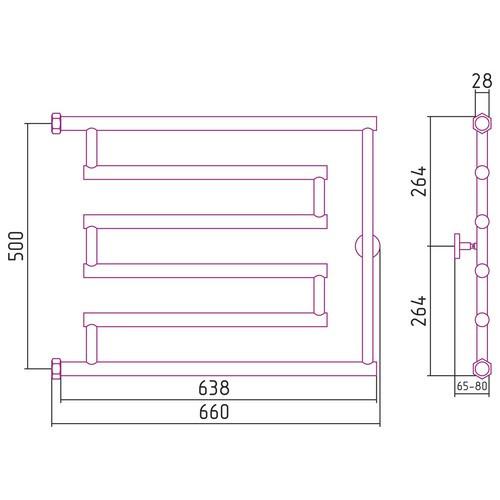 """Водяной полотенцесушитель Сунержа High-Tech model """"L"""" 500x650"""