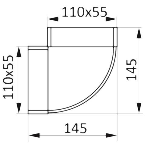 Колено горизонтальное плоское 90°, 55х110