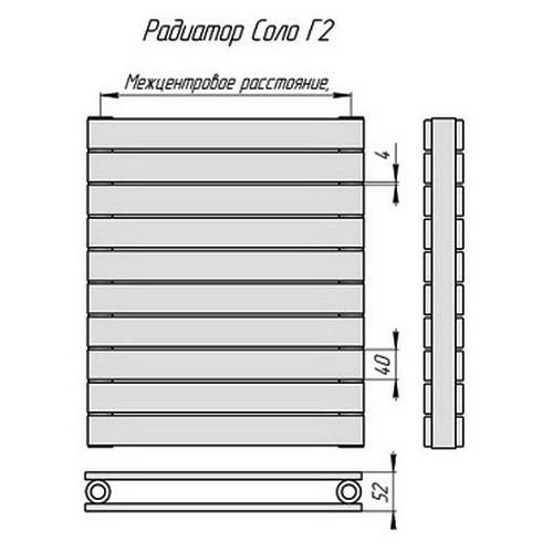 Стальной трубчатый радиатор отопления КЗТО Соло Г 2-1250-8
