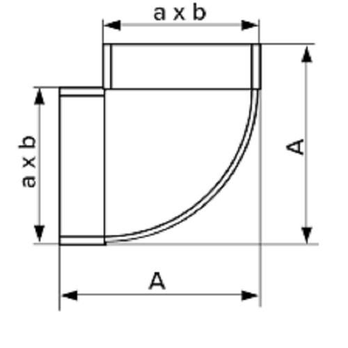 Колено горизонтальное плоское 90°, 55х220