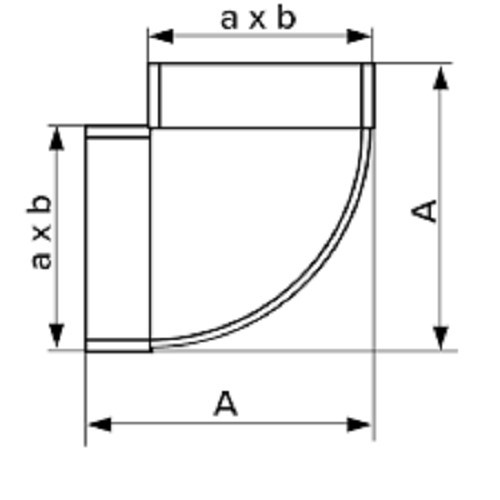 Колено горизонтальное плоское 90°, 60х120