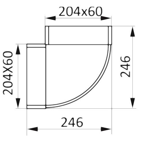 Колено горизонтальное плоское 90°, 60х204
