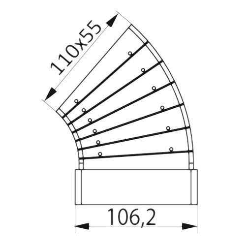 Колено разноугловое горизонтальное 55x110