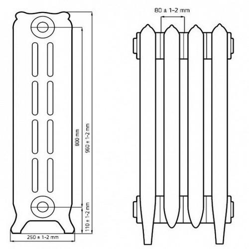 Чугунный радиатор отопления RETROstyle BRISTOL 800 (1 секция)