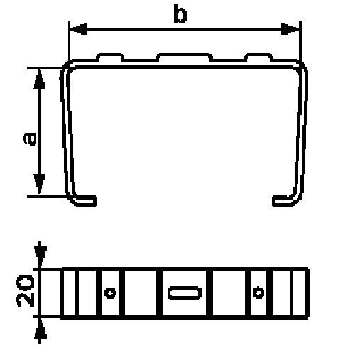 Держатель прямоугольных воздуховодов 55х220
