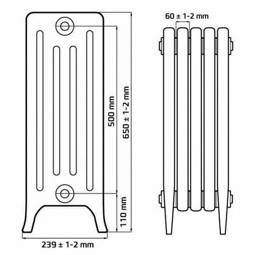 Чугунный радиатор отопления RETROstyle DERBY CH 500/220 (1 секция)