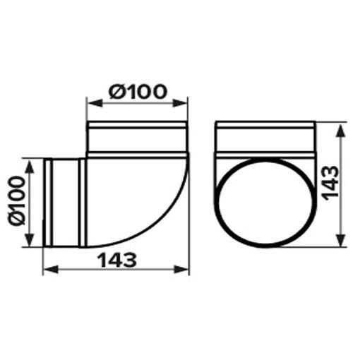 Колено 90°, для круглых воздуховодов D100