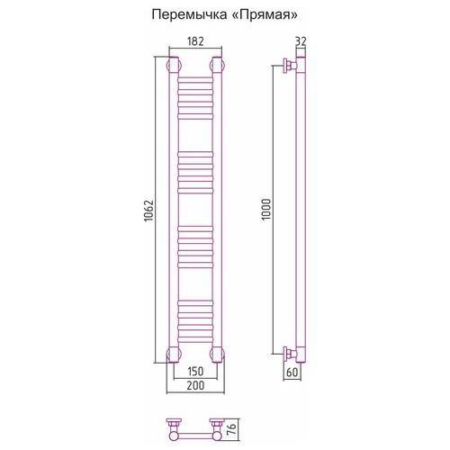Водяной полотенцесушитель Сунержа Богема+ прямая 1000x150
