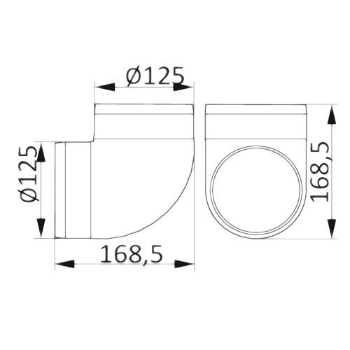 Колено 90°, для круглых воздуховодов D125