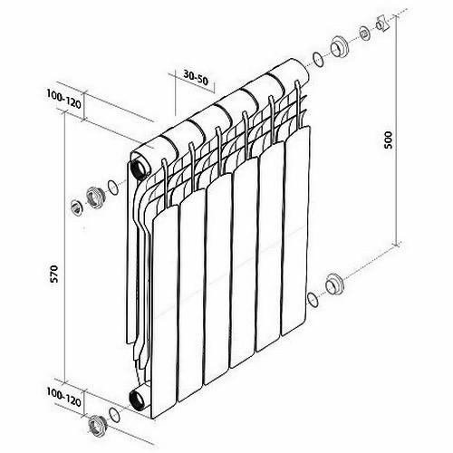 Биметаллический радиатор отопления Royal Thermo Revolution Bimetall 500 8 секций