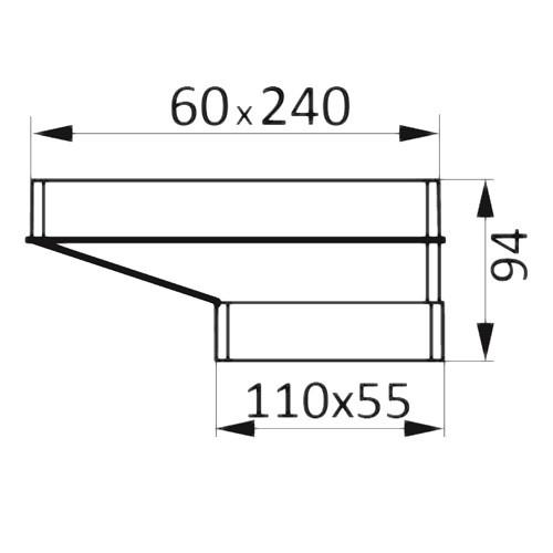 Соединитель эксцентриковый плоского воздуховода с плоским 110x55/204x60