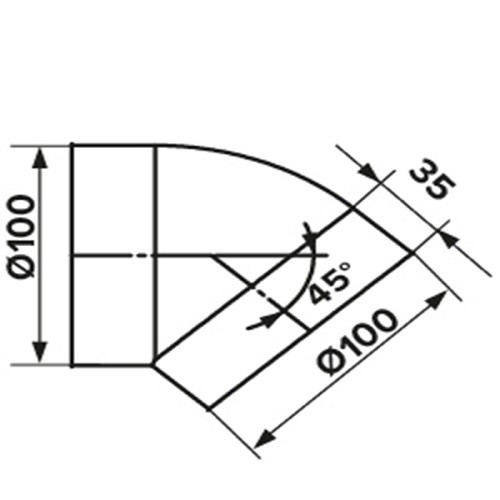 Колено 45°, для круглых воздуховодов D100