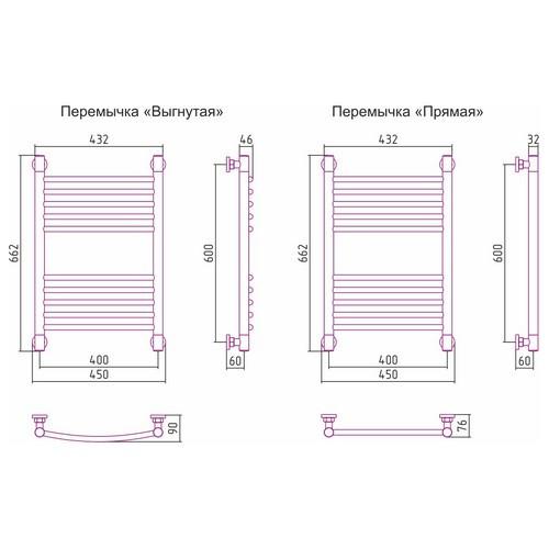 Водяной полотенцесушитель Сунержа Богема+ прямая 600x400